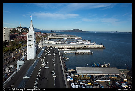 Aerial view of Ferry Building and piers. San Francisco, California, USA (color)