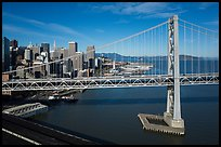 Aerial view of Bay Bridge and Embarcadero. San Francisco, California, USA ( color)