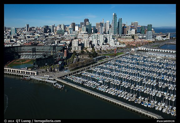 Aerial view of South Beach Harbor, ATT Park, and downtown. San Francisco, California, USA (color)