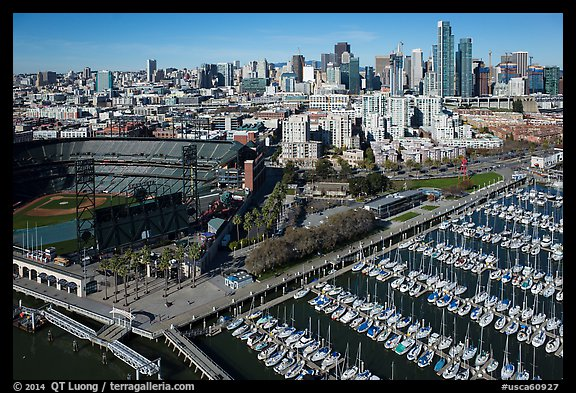 Aerial view of South Beach Harbor, ATT Park, and South of Market. San Francisco, California, USA (color)