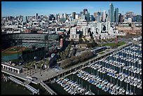 Aerial view of South Beach Harbor, ATT Park, and South of Market. San Francisco, California, USA ( color)