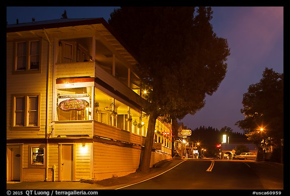 Groveland hotel and main street at night. California, USA (color)