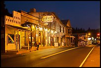 Iron Door Saloon and Groveland main street at night. California, USA ( color)
