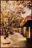 Sidewalk with fresh snow at night, Truckee. California, USA ( color)