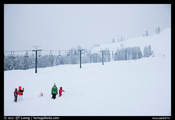 Ski resort on a snowy day. California, USA (color)