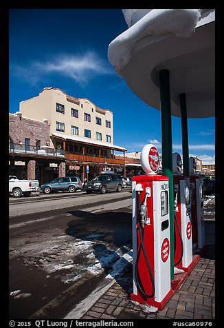 Gas pumps and street, Truckee. California, USA (color)