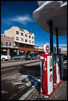 Gas pumps and street, Truckee. California, USA ( color)