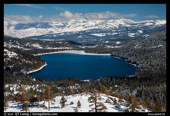 Donner Lake and snowy mountains in winter. California, USA (color)