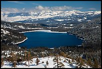 Donner Lake and snowy mountains in winter. California, USA ( color)
