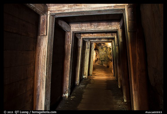 Gallery with wooden support beams, Gold Bug Mine, Placerville. California, USA (color)