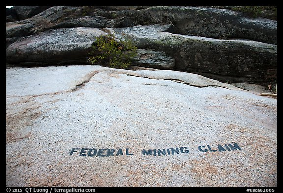 Federal Mining Claim painted on rocks, El Dorado County. California, USA (color)