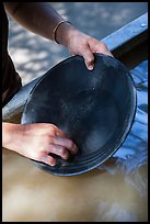 Hands holding pan, Gold Bug Mine, Placerville. California, USA ( color)
