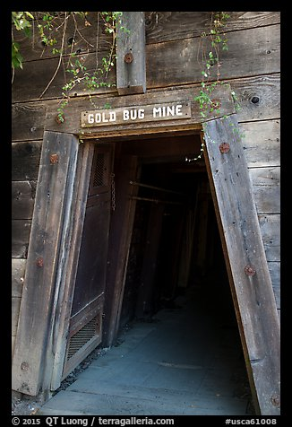 Entrance of historic Gold Bug Mine, Placerville. California, USA (color)