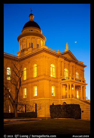 Placer County Courthouse and crescent moon, Auburn. California, USA (color)