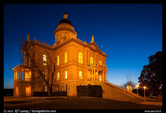 Placer County Courthouse at dusk with crescent moon, Auburn. California, USA (color)