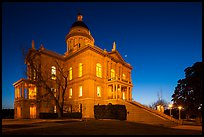 Placer County Courthouse at dusk with crescent moon, Auburn. California, USA ( color)