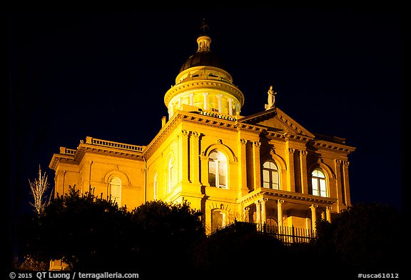 Placer County Courthouse at night, Auburn. California, USA (color)