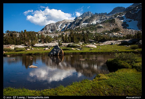 Alpine tarn, Twenty Lakes Basin, Inyo National Forest. California, USA (color)