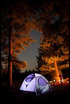 Tent and campfire at night,  Prosser Ranch Group Campground, Tahoe National Forest. California, USA ( color)