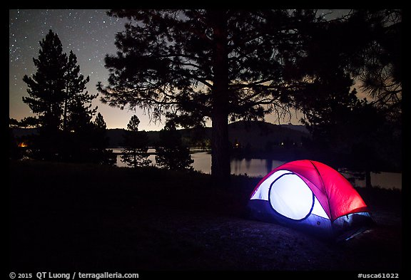 Tent and Prosser Reservoir at night, Tahoe National Forest. California, USA (color)