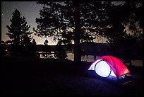Tent and Prosser Reservoir at night, Tahoe National Forest. California, USA ( color)