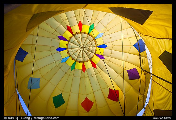 Looking up inside yellow hot air balloon. California, USA (color)