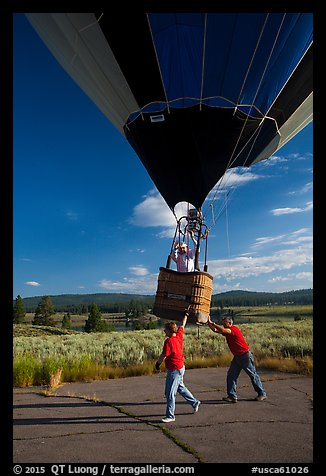 Helpers pull hot air balloon, Tahoe National Forest. California, USA (color)