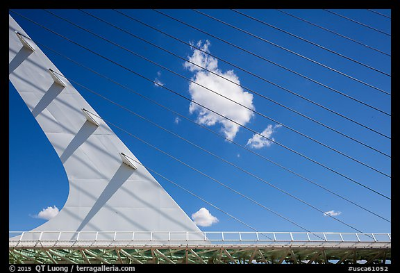 Cantilever spar cable-stayed Sundial Bridge, Redding. California, USA (color)