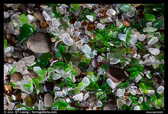 Close-up of green and clear seaglass. Fort Bragg, California, USA (color)