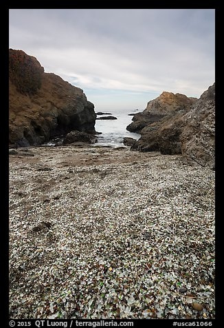 Rocky beach cove filled with seaglass. Fort Bragg, California, USA (color)