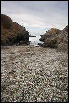 Rocky beach cove filled with seaglass. Fort Bragg, California, USA ( color)