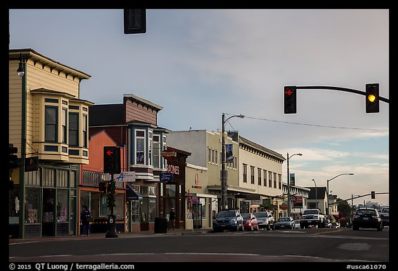 Main Street. Fort Bragg, California, USA (color)