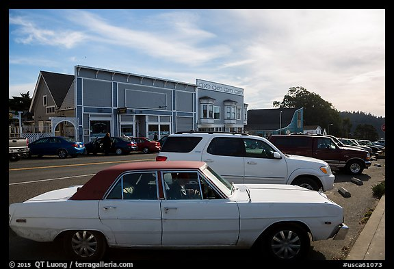 Classic car and street. Mendocino, California, USA (color)
