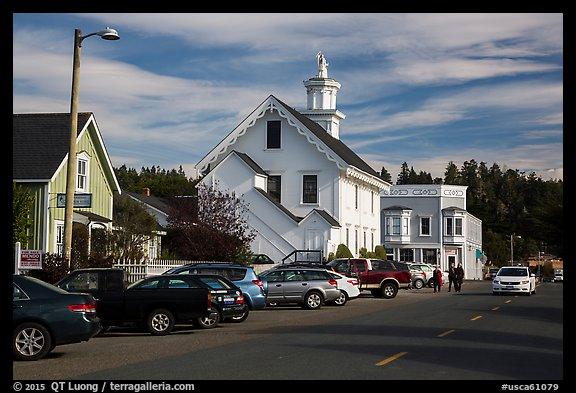 Street and church. Mendocino, California, USA (color)