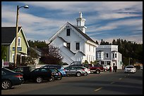 Street and church. Mendocino, California, USA ( color)