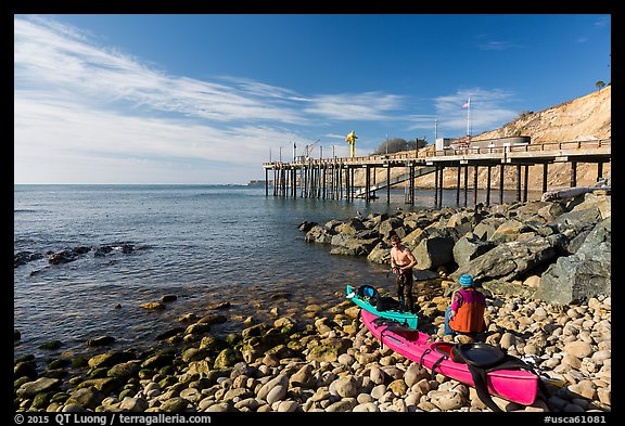 Sea Kayakers and Wharf. California, USA (color)