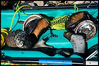 Sea Kayak with abalone and diving gear. California, USA ( color)