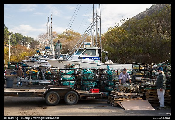 Dry harbor and crab traps. California, USA (color)