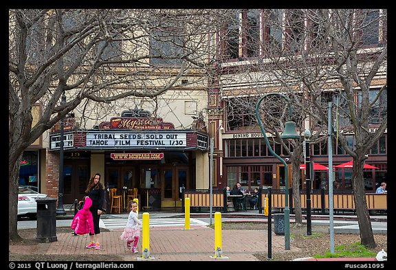 Street and Mcnear Mystic Theatre. Petaluma, California, USA (color)