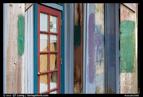 Doors and painted walls, Petaluma Mill. Petaluma, California, USA (color)