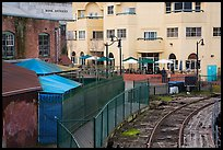 Historic, modern buildings, railroad tresle. Petaluma, California, USA ( color)