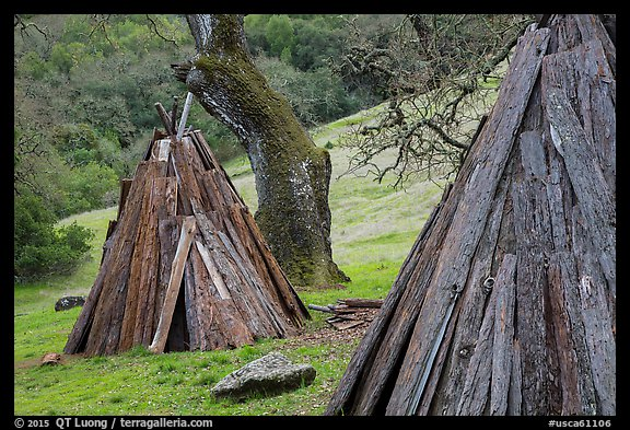 Reconstructed Miwok village, Olompali State Historic Park. Petaluma, California, USA (color)