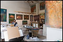 Artist in painting studio. Berkeley, California, USA ( color)