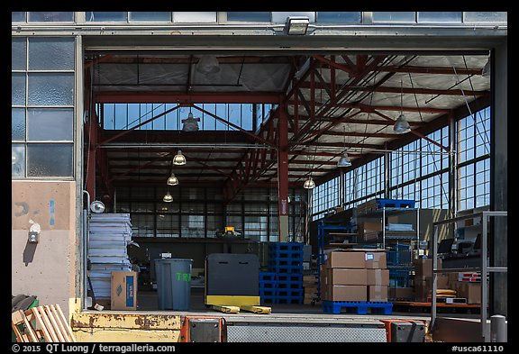 Loading platform and warehouse interior. Berkeley, California, USA (color)
