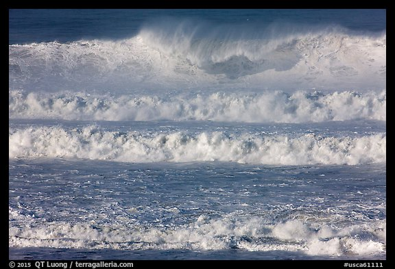 Giant waves breaking offshore. Half Moon Bay, California, USA (color)