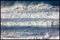 Rows of waves breaking offshore. Half Moon Bay, California, USA ( color)