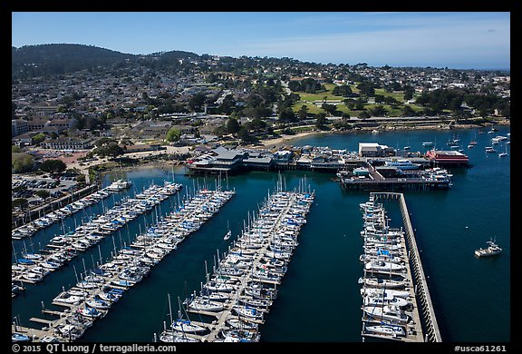 Aerial view of harbor. Monterey, California, USA (color)