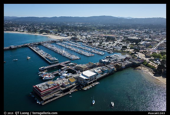 Aerial view of harbor and downtown. Monterey, California, USA (color)