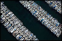 Aerial view of rows of yachts. Monterey, California, USA ( color)