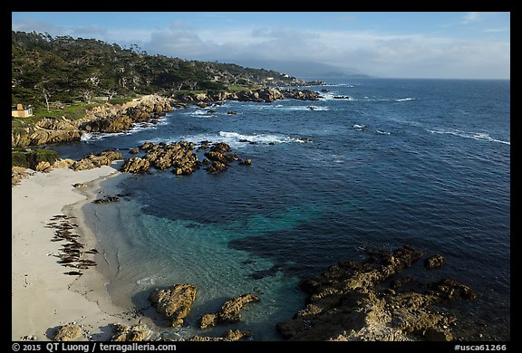 Aerial view of beach and costline, Cypress Point. Pebble Beach, California, USA (color)